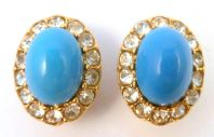 Vintage Attwood And Sawyer Faux Turquoise And Rhinestone Clip On Earrings.